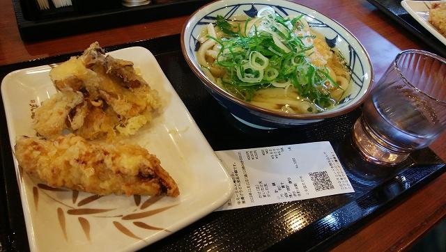 丸亀製麺 岡山高柳店 かけうどん並+舞茸天+とり天