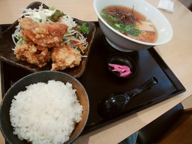 中華レストラン サンサンチャイナ から揚げ定食 (ハーフラーメン・ライス付き)